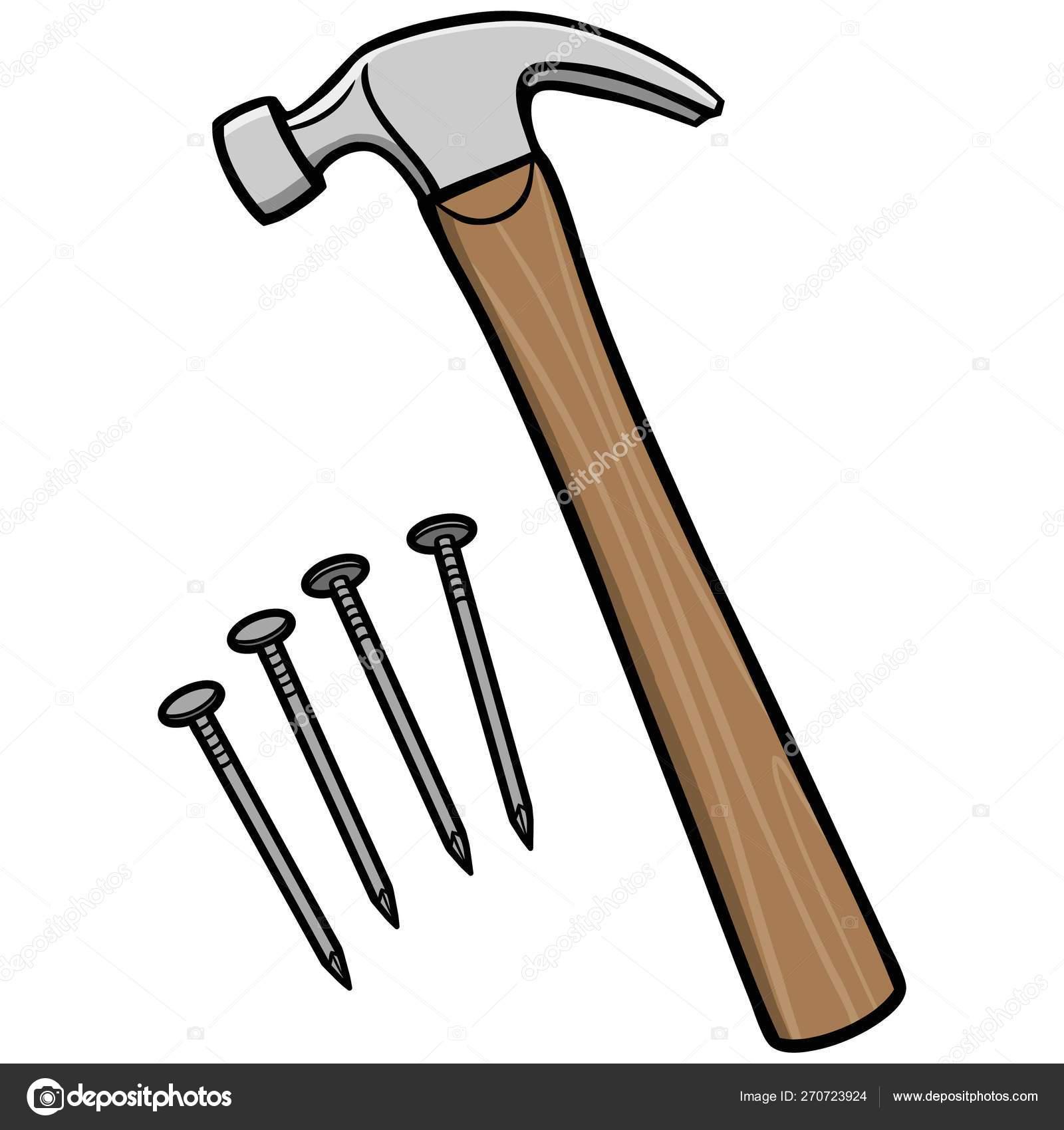 Hammer Cartoon Illustration Hammer Nails Stock Vector C Larryrains 270723924