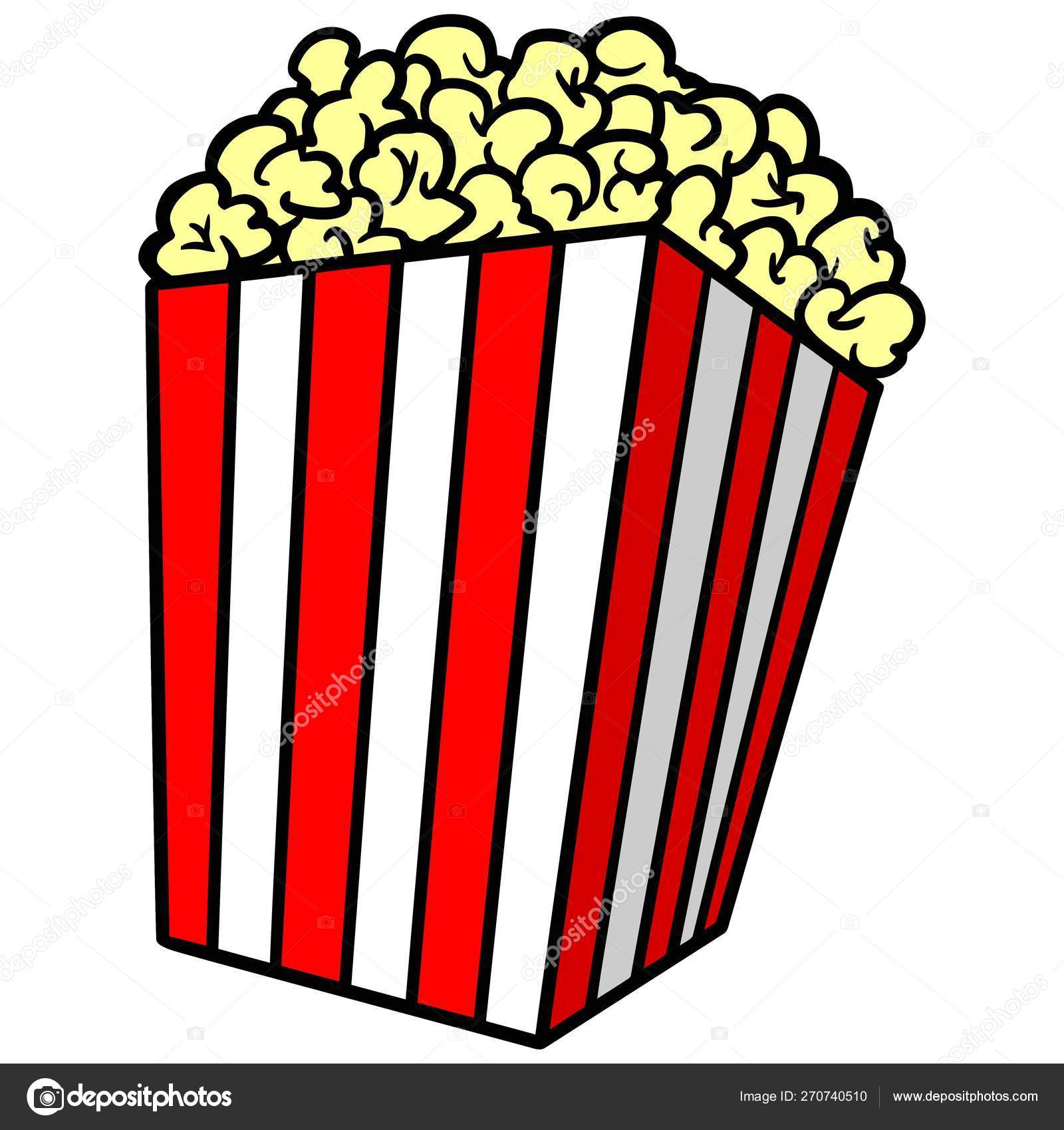 Popcorn Cartoon Illustration Box Popcorn Vector Image By C Larryrains Vector Stock 270740510