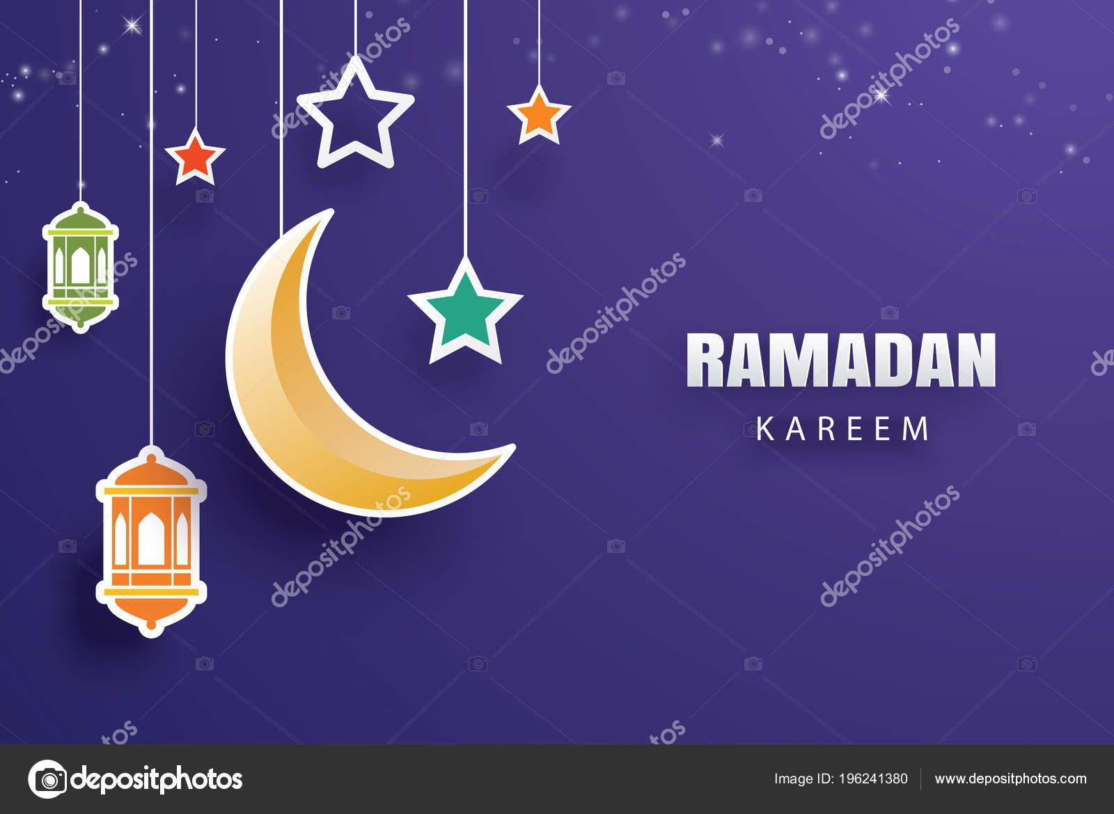 Ramadan kareem greeting card moon stars traditional lanterns ramadan kareem greeting card moon stars traditional lanterns background eid stock vector m4hsunfo