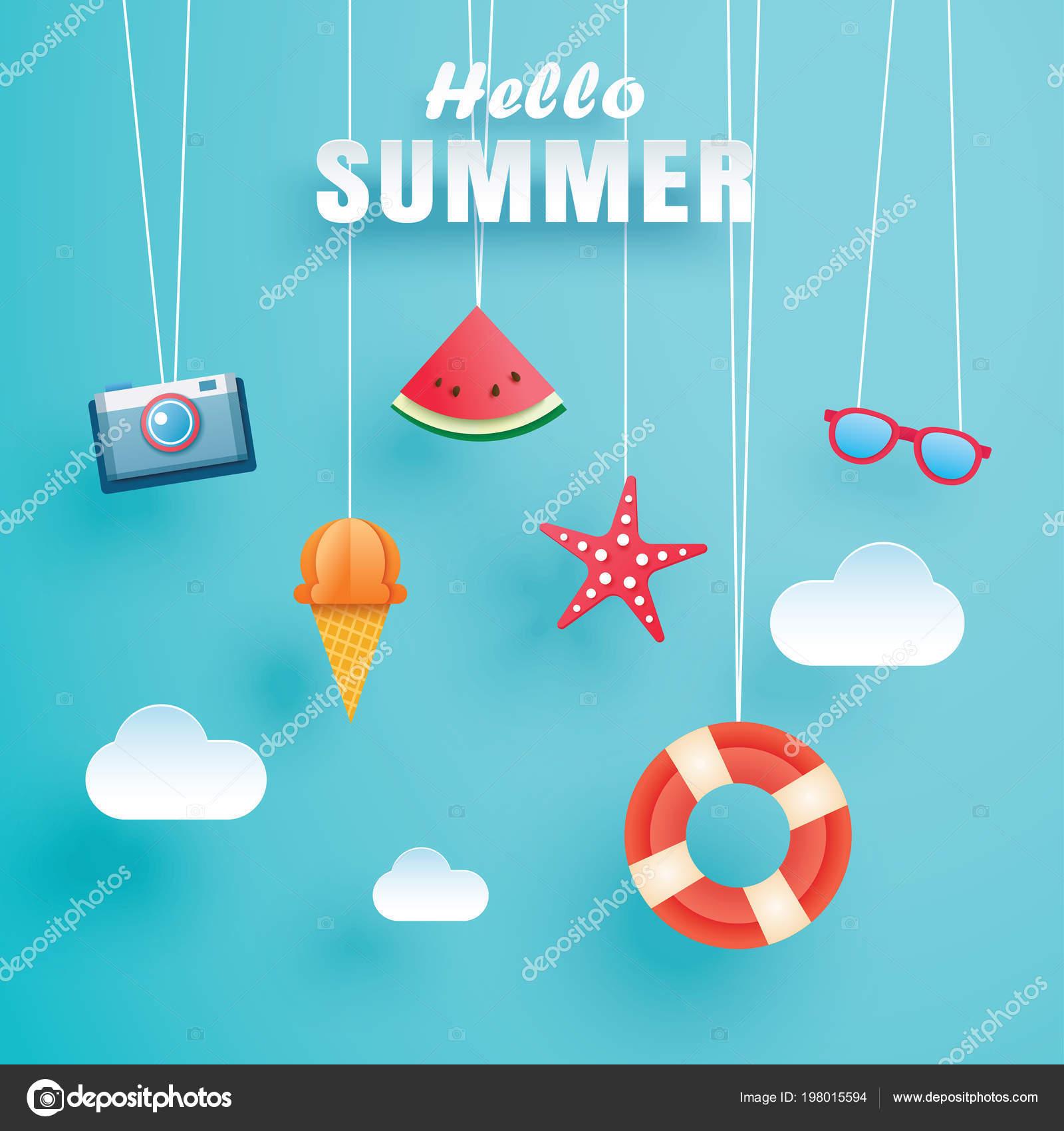 Hallo Sommer Mit Dekoration Origami Hängen Der Himmelshintergrund