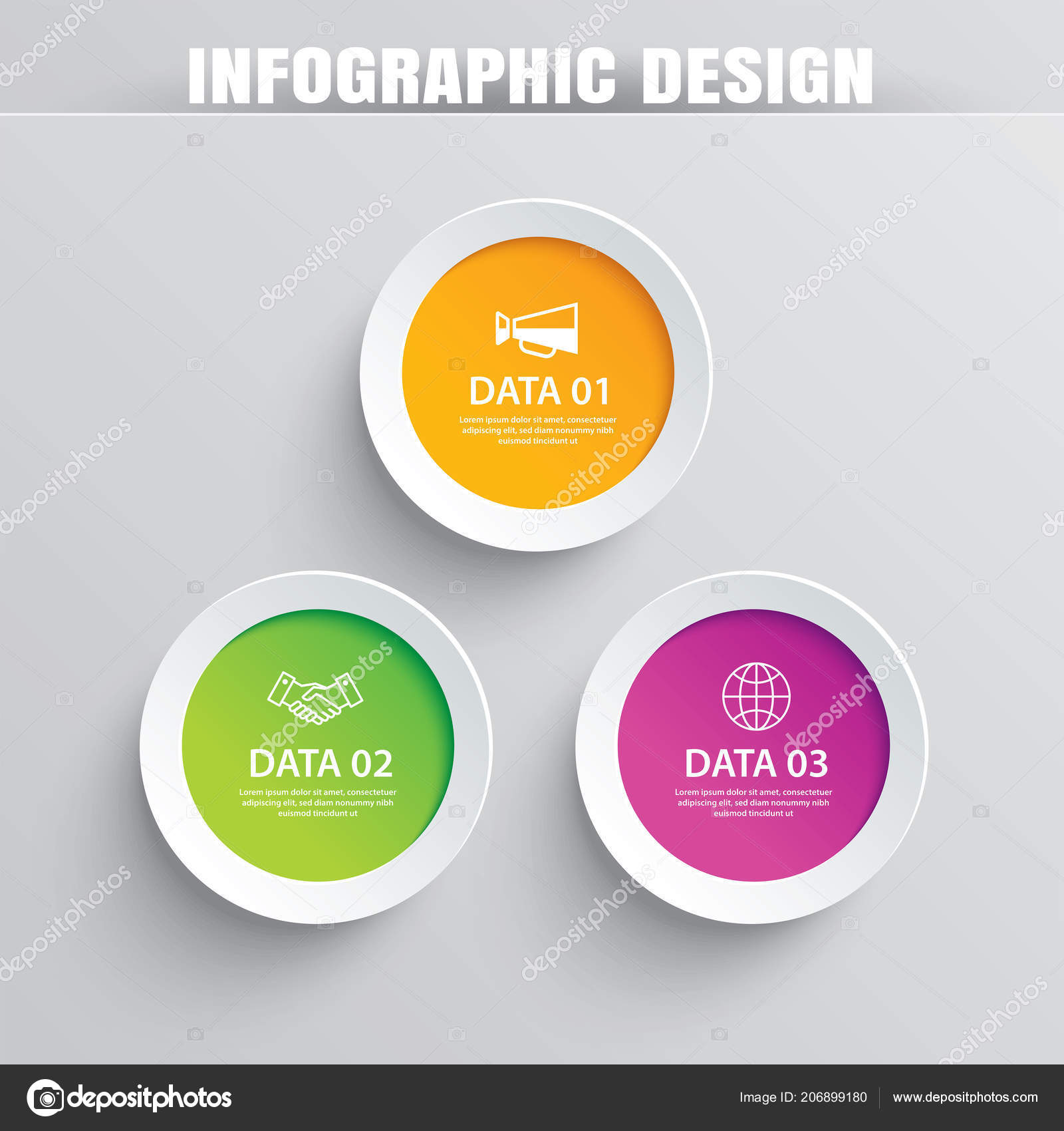 infographics circle paper data template vector illustration abstract