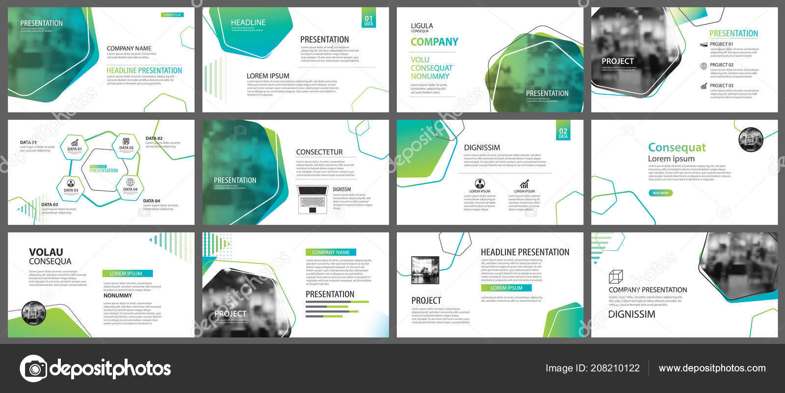 green geometric slide presentation templates infographics background