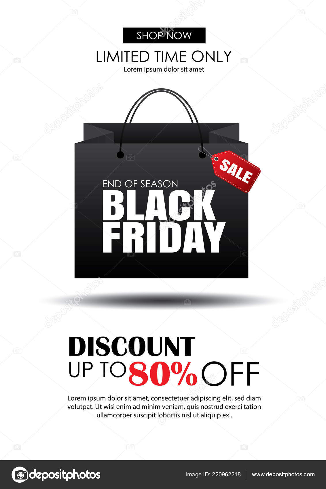 black friday sale flyer template white background shopping bag use