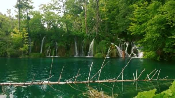 Waterfalls in a blue lake