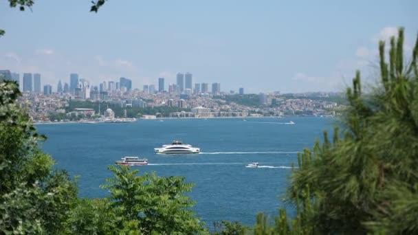 Krásný výhled na úžinu bospor v istanbulu s mosty a mrakodrapy