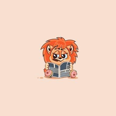 lion sticker emoticon with cigar reading newspaper