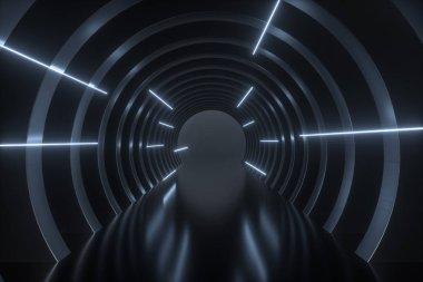 3d rendering, dark science-fiction tunnel, dark background