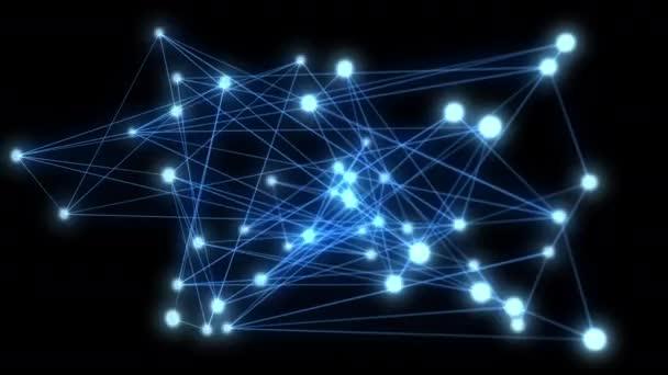 abstrakte Verbindung und Kommunikation mit Linienpunkten auf blauem Hintergrund. Kommunikations- und Netzwerkkonzept.