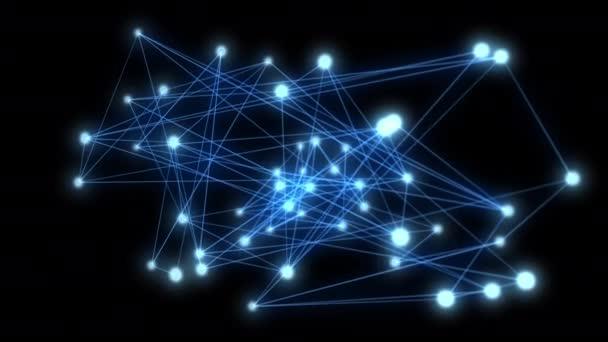 Abstraktní spojení a komunikace s čarami na modrém pozadí. Koncepce komunikace a sítě.