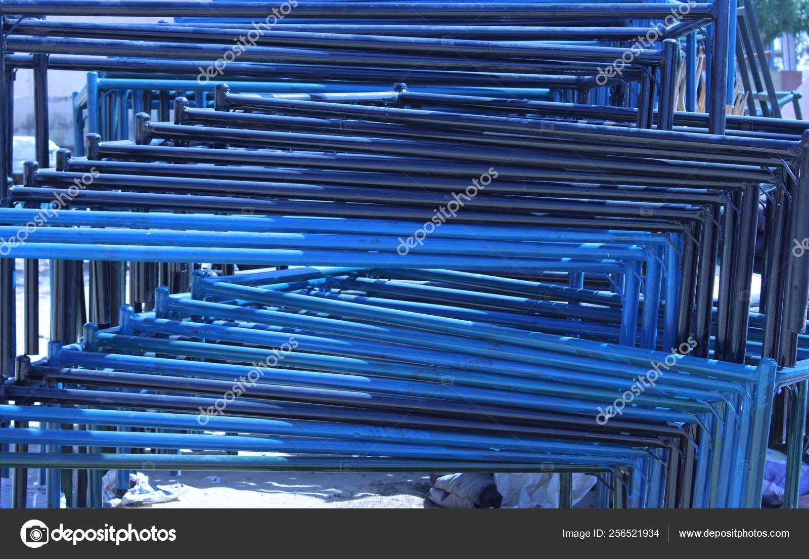 Blue Color Of Wrought Iron Bed Frame At The Market Stock Photo C Ommishra 256521934