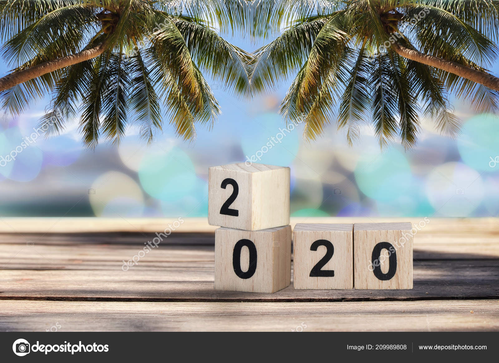 Wood Cube Number 2020 Planks Tropical Beach Background Happy