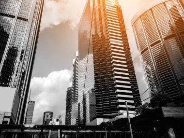 "Картина, постер, плакат, фотообои ""commercial building close up in black and white"", артикул 252309800"