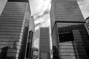 "Картина, постер, плакат, фотообои ""Business buildings in Hong Kong; Low Angle View; Black and White"", артикул 292267964"