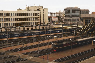 Train at train station.