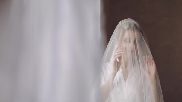 Beautiful and lovely bride. Pretty and well-groomed woman. Slow motion