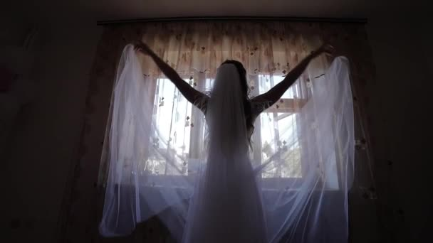 Beautiful and lovely bride in wedding dress near window throws her veil