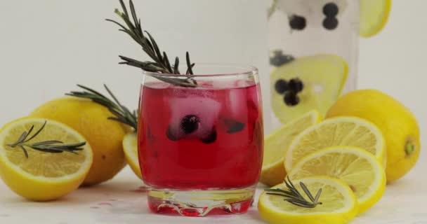 Hinzufügen von Zitronenscheibe, Rosmarin, Stroh in einem Glas mit Limonade roten Cocktail