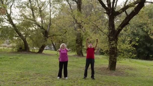 Aktive Senioren beim Sport im Freien im Stadtpark. Dehnübungen am Morgen