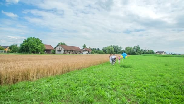 We can see a beautiful green grass and a wheat field in summer time. A young family is spending some time together.
