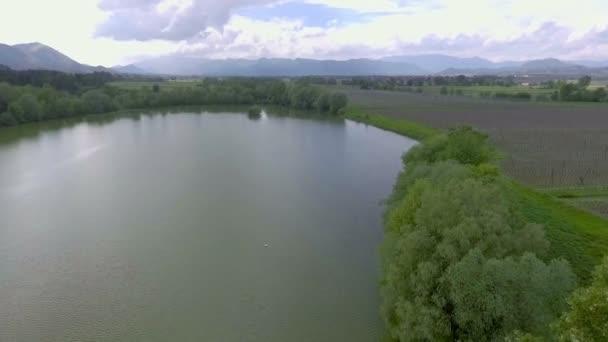 Můžeme vidět stromy a velké jezero někde v Zalci uprostřed Slovinska. Je jaro a příroda kvete.