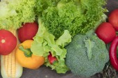 Organic vegetables on wood ,Fresh organic vegetables.Organic vegetables and fruits, Food background.