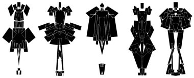 silhouettes of fashion suits set in geometric symmetry style