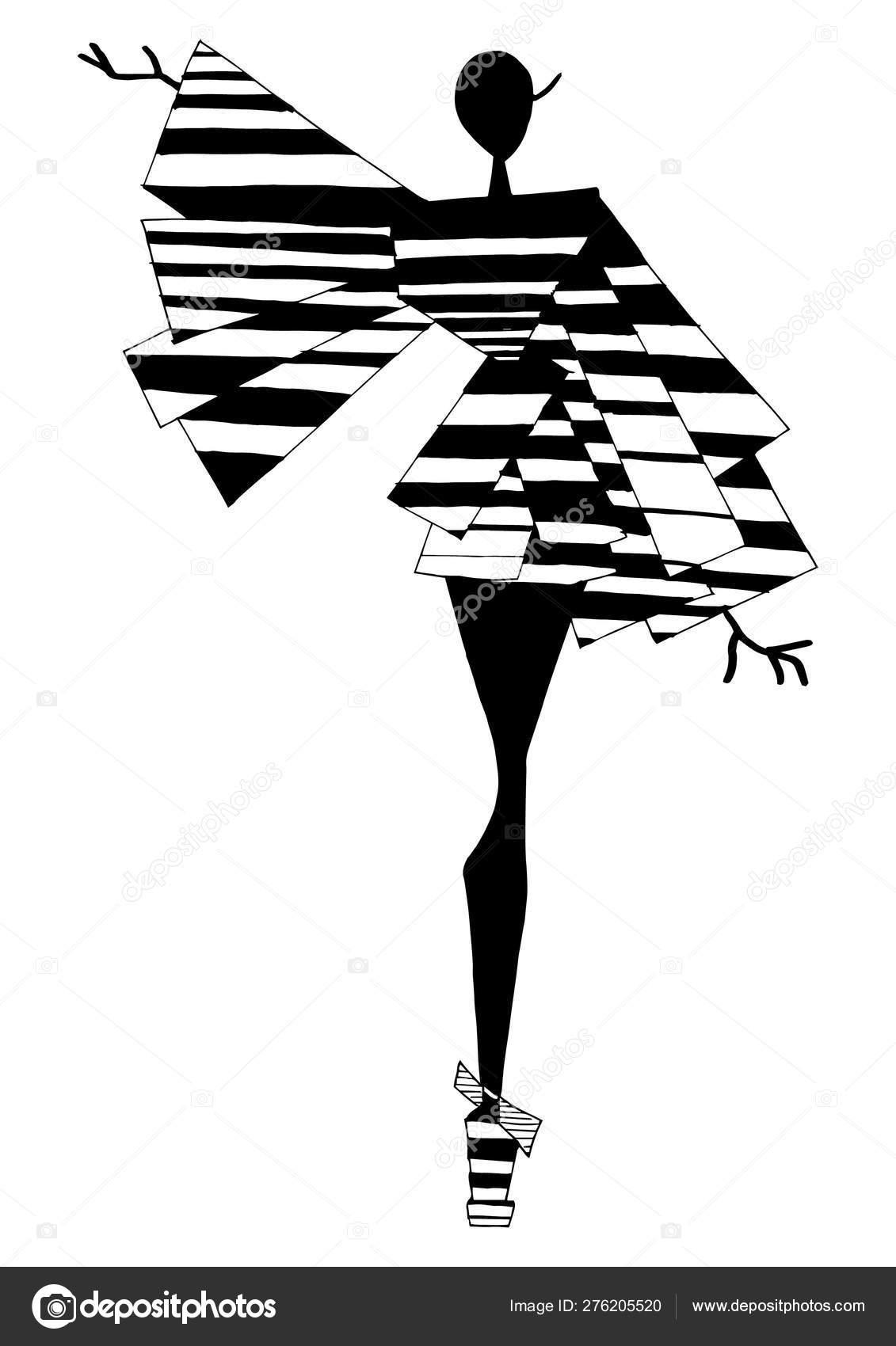 Art Fashion Silhouette Costume Posing Style Abstract Pattern Geometric Elements Stock Photo C Arctiumstudio 276205520