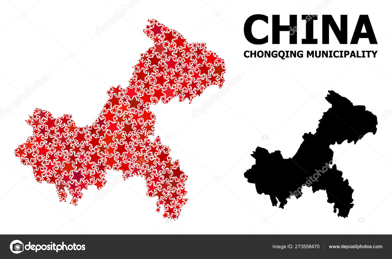 Red Star Mosaic Map Of Chongqing Municipality Stock Vector