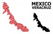 Vörös csillaggal díszített mozaik Térkép Veracruz állam