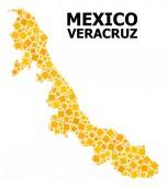 Arany elforgatott négyzetes minta Térkép Veracruz állam