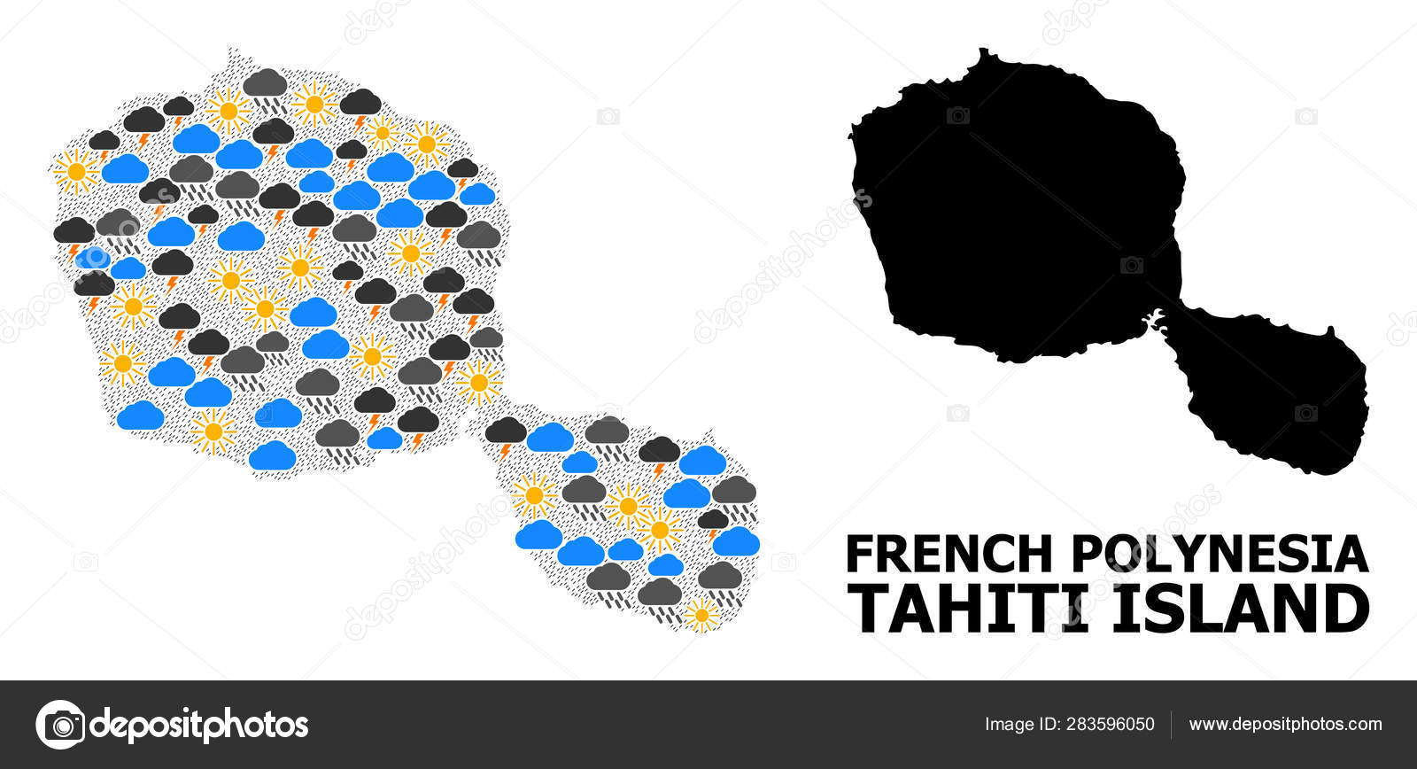 Weather Pattern Map of Tahiti Island — Stock Vector ... on