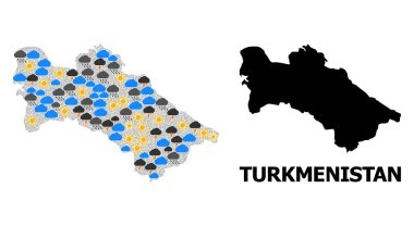 Climate collage vector map of Turkmenistan. Geographic mosaic map of Turkmenistan is combined with scattered rain, cloud, sun, thunderstorm symbols. Vector flat illustration for climate predictions. clip art vector
