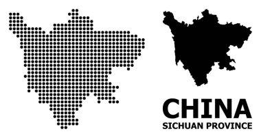 "Картина, постер, плакат, фотообои ""Пиксельная карта шаблона провинции Сычуань"", артикул 284527286"