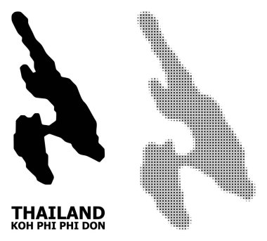 Vector Halftone Pattern and Solid Map of Koh Phi Don