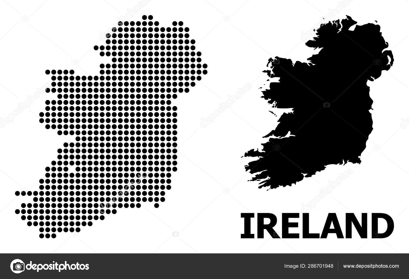 Map Of Ireland Islands.Dot Pattern Map Of Ireland Island Stock Vector C Neuralnetworks