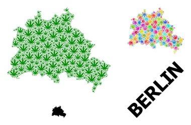 """Картина, постер, плакат, фотообои """"векторная карта-коллаж из разноцветных и зеленых листьев марихуаны и карта берлина города санкт-петербург художник"""", артикул 403220864"""