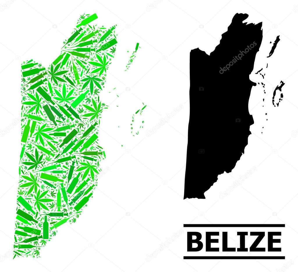 Addiction Mosaic And Usual Map Of Belize Vector Map Of Belize Is Formed With Randomized Vaccine Doses Marijuana And Drink Bottles Abstract Territorial Plan In Green Colors For Map Of Belize