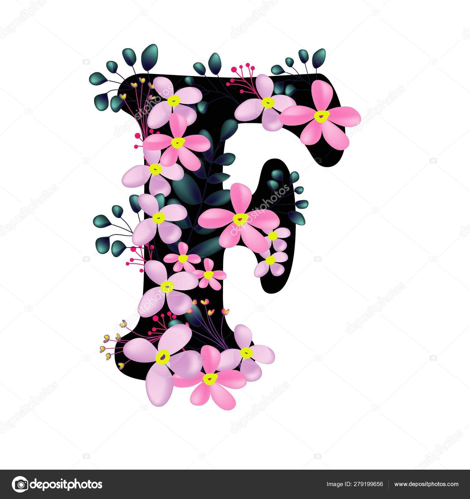 Beautiful Floral Letter Pink Flowers Flat Icon Isolated White Background Stock Vector C Elsabenaa 279199656