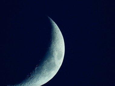 a rising quarter moon in the dark blue evening sky