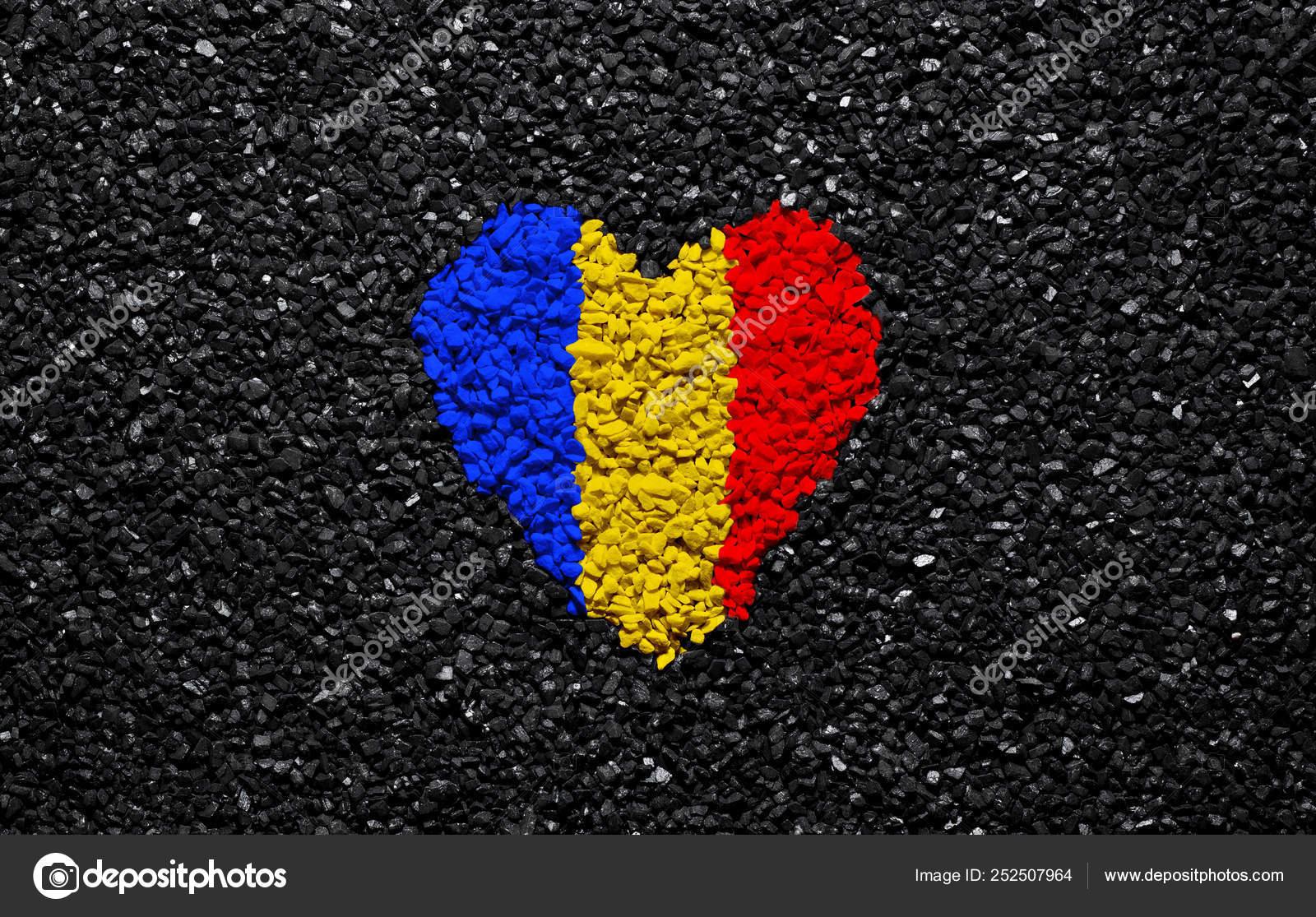 Flag Romania Romanian Flag Heart Black Background Stones