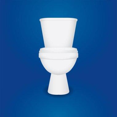 Toilet bowl. Realistic white home toilet vector illustration. Clean ceramic bathroom toilet. Part of set.