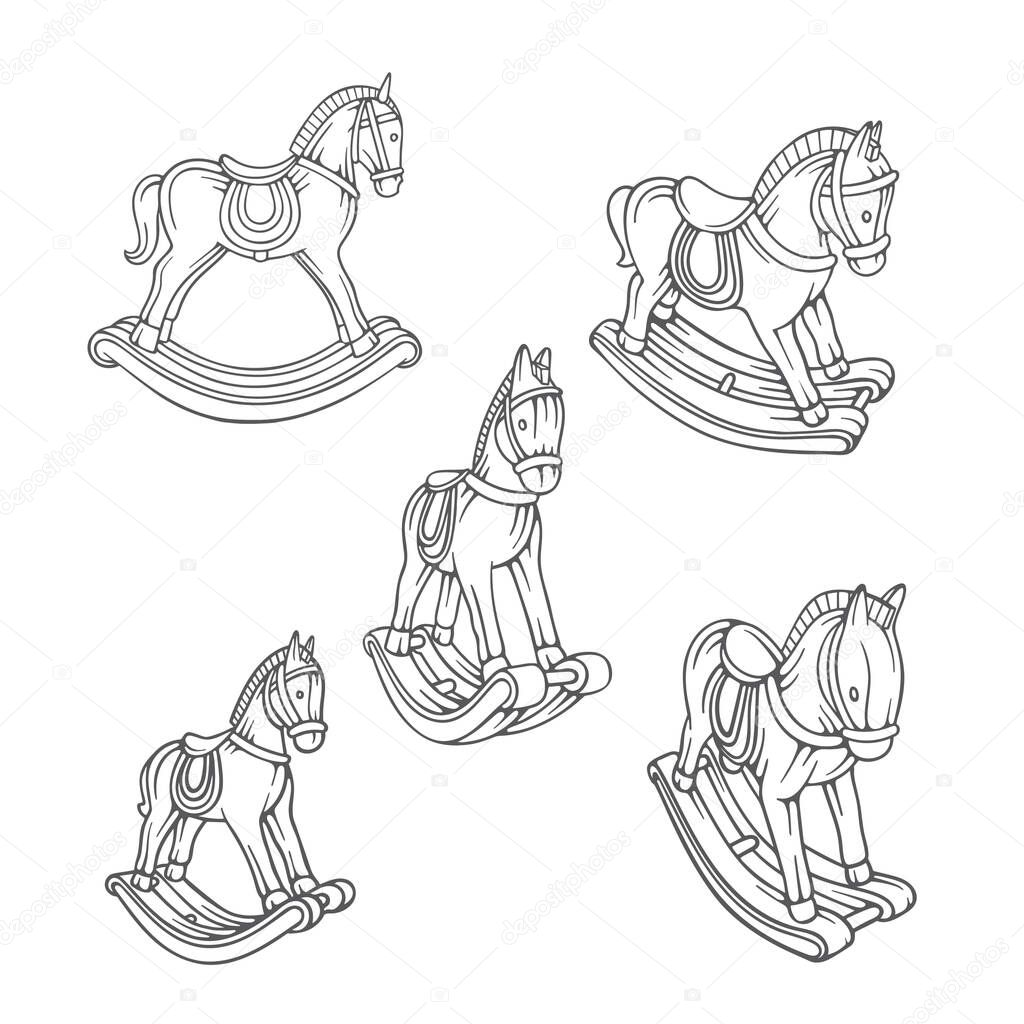 Rocking Horse Vintage Toy Horse Rocking Horse Hand Drawn Vector Illustration Part Of Set Premium Vector In Adobe Illustrator Ai Ai Format Encapsulated Postscript Eps Eps Format