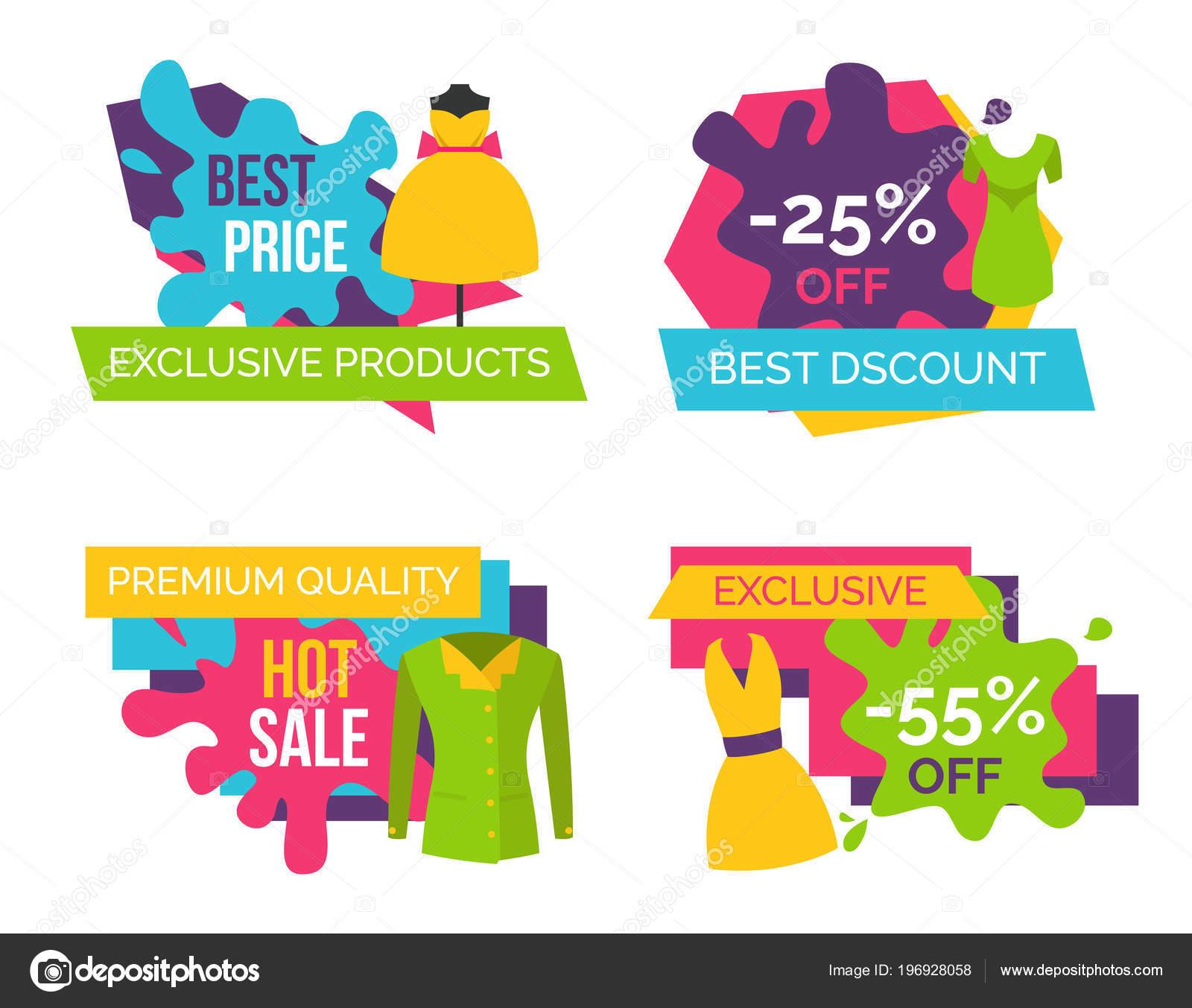 Loja de roupas de mulheres conjunto de rótulos de publicidade — Vetor de  Stock 226ddaea0be