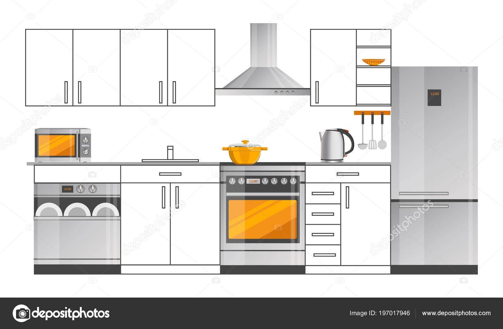 Plantilla de diseño de interiores de cocina con electrodomésticos ...