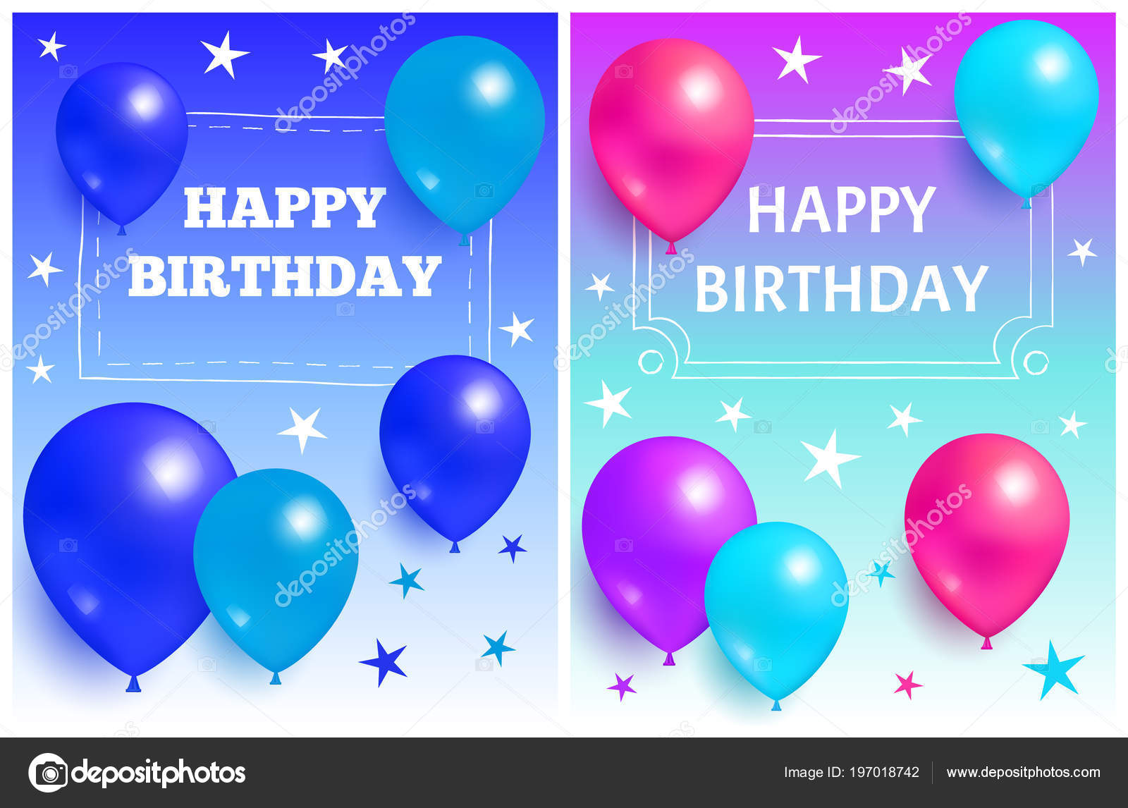 happy birthday background glossy balloons and star stock vector