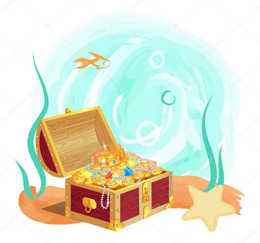 Ancient Royal Treasures in Old Chest at Sea Bottom