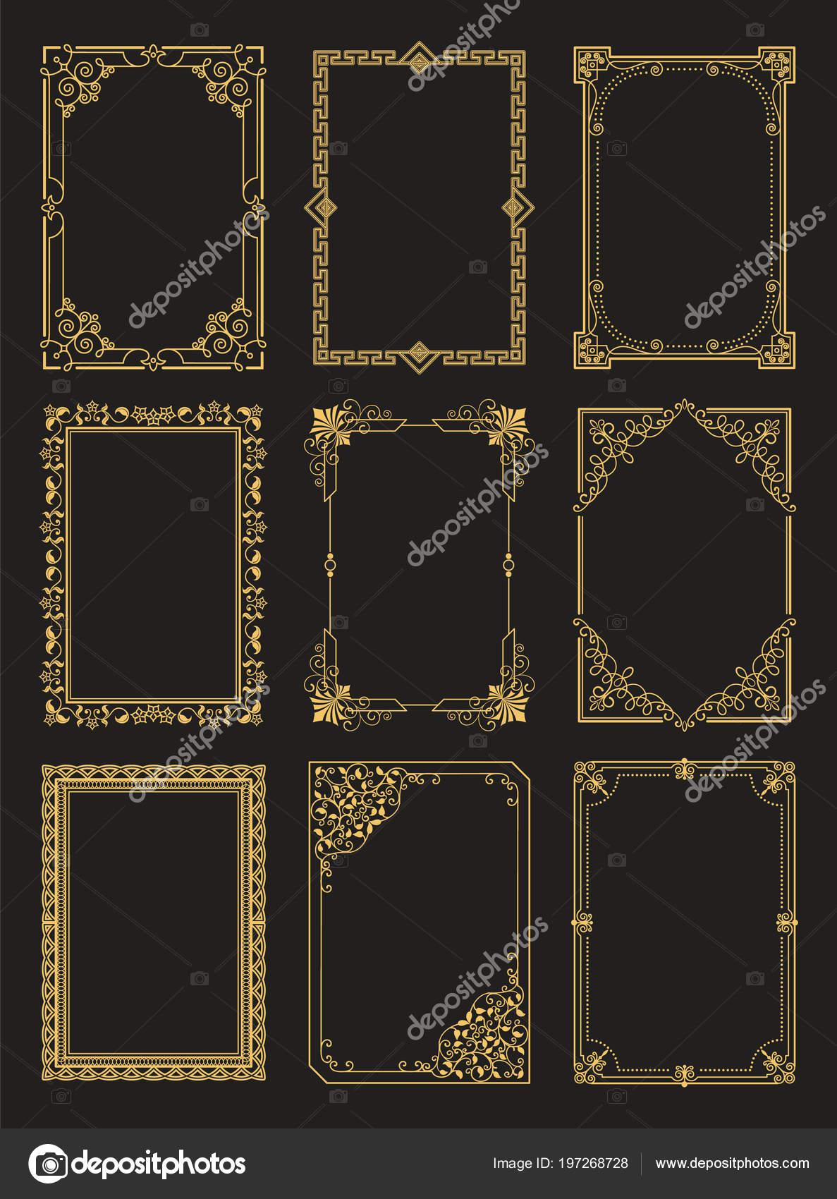 6dd29d6f870 Vintage frames collection golden borders isolated on black background.  Decorative gold frames set ornamental elements in corners vector  illustrations ...