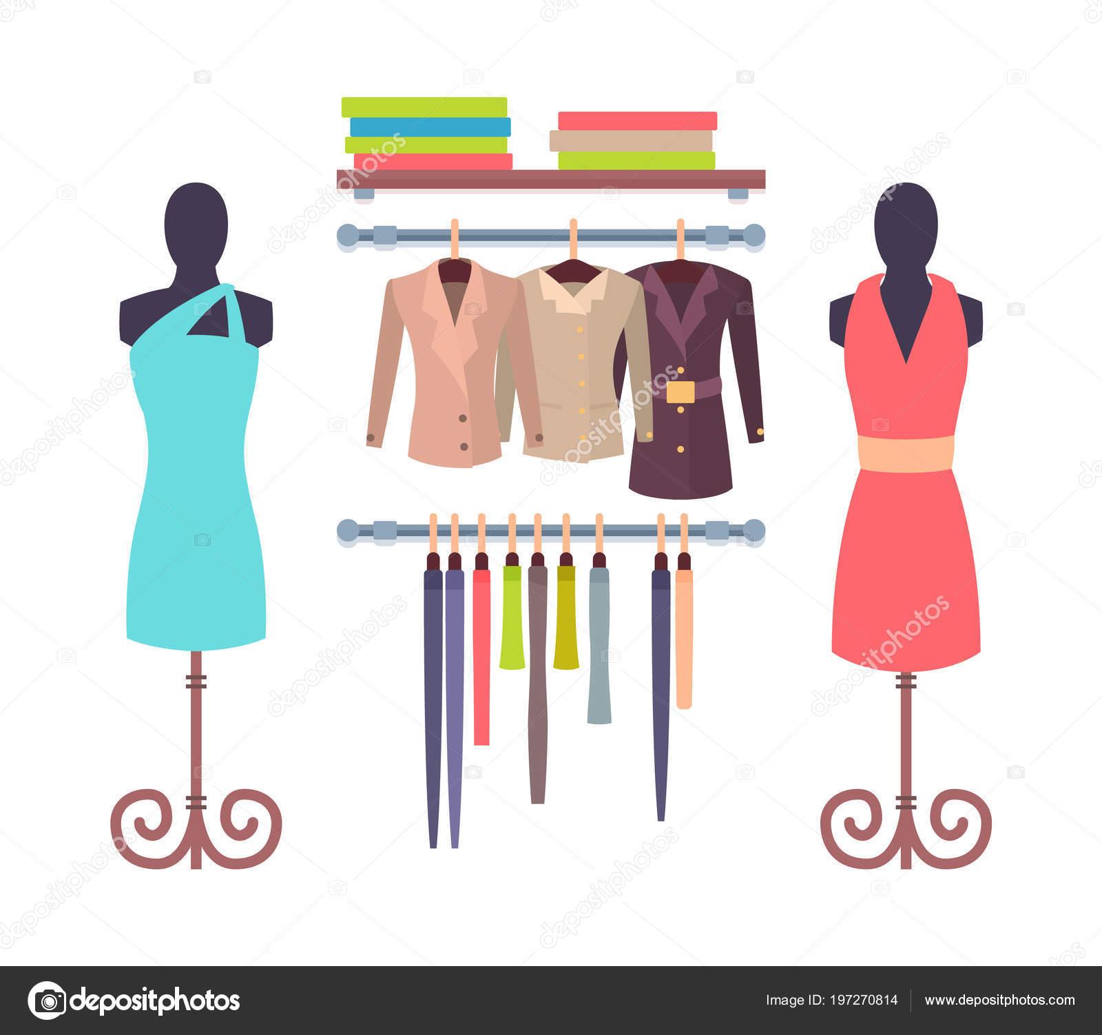 324364af0ff Escaparate en la tienda para las mujeres maniquíes vestidos — Vector de  stock