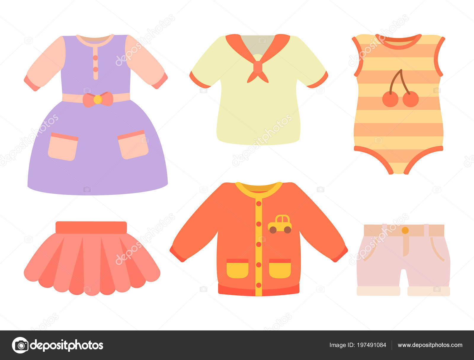 赤ちゃん服ポスターとセット ベクトル イラスト ストックベクター