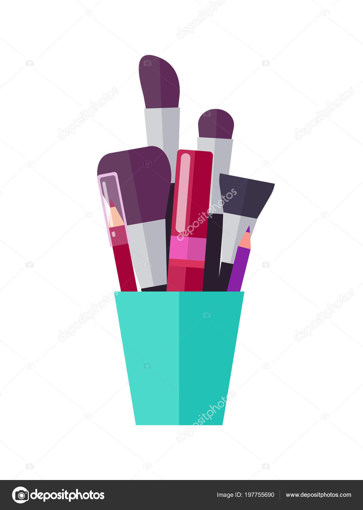 8482c0cd5aa Lush brushes set, bright pencils for lips outline and red tube of mascara  in bright cup isolated cartoon flat vector illustration on white background.
